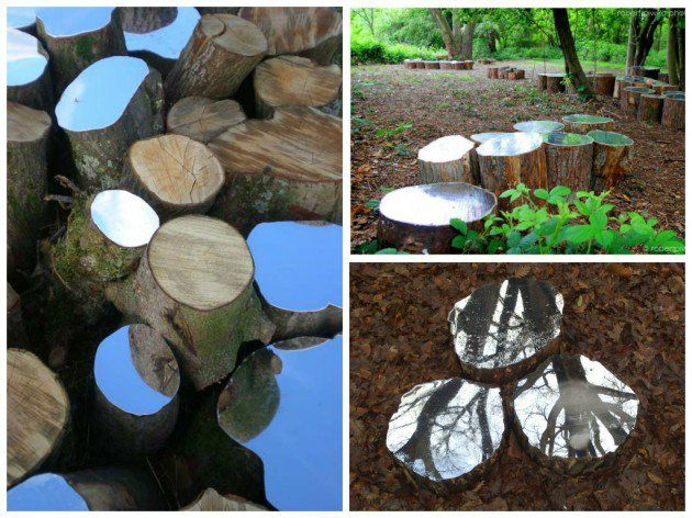 13 Amazing Ideas How to Reuse Your Broken Mirror... DIY mirrored tree stumps in yard/ outdoors