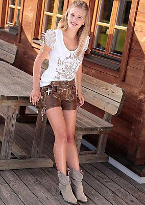 Marjo Trachtenlederhose kurz Damen aus edlem Ziegenleder in braun im OTTO Online Shop