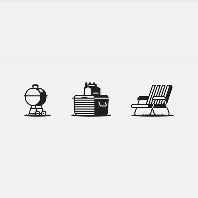 The Chillin' Starter Pack by @kaleedesign #icon #icondesign #icons #iconset#iconography #pictpo #pictogram #line#outline #shadow #chill #camping  #grill #chair #park