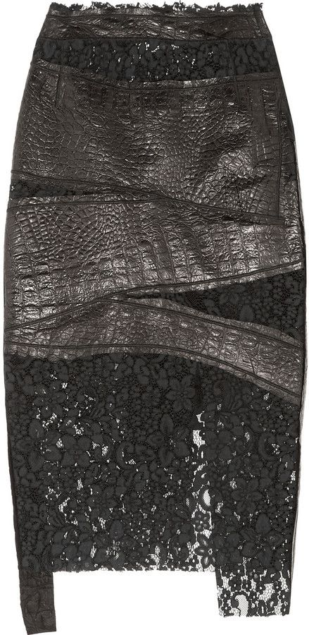 Ronald Van Der Kemp Croc-Effect Leather and Corded Lace Skirt