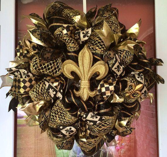 Deco Poly Mesh New Orleans Saints Football Black and Gold Fleur De Lis Wreath on Etsy, $70.00