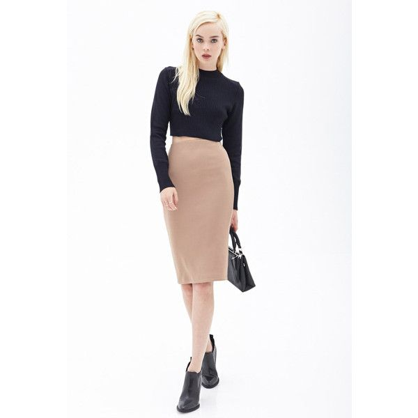 Forever 21 Ribbed Pencil Skirt ($9.66) ❤ liked on Polyvore