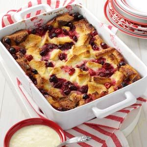 "Cranberry Bread Pudding Recipe. ""This down-home dessert takes on a touch of elegance when I serve it warm and drizzled with a thin orange custard sauce,"" relates Margery Richmond of Fort Collins, Colorado. ""It's so pretty that I often make it for dinner guests using either fresh or frozen cranberries."""