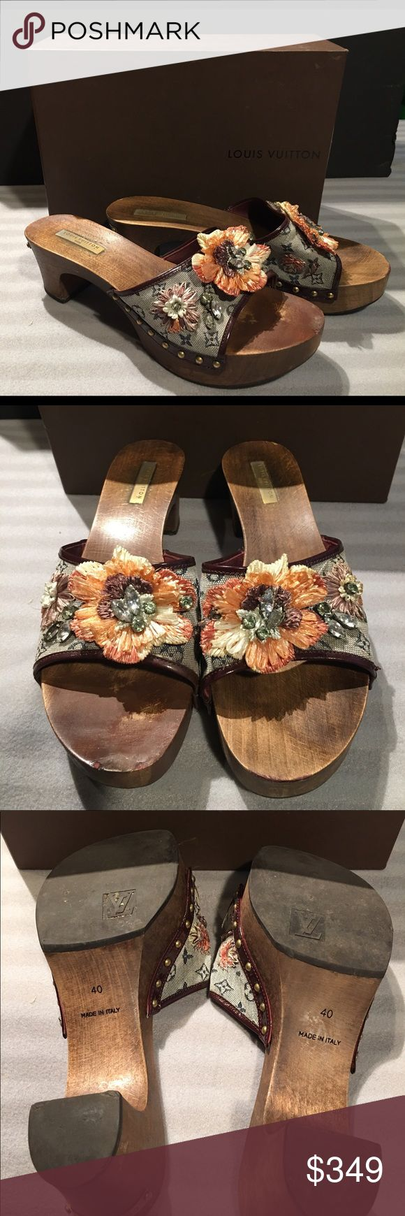Authentic Louis Vuitton Monogram Wooden Pumps 40 With wear. Missing one stone. See pictures. Fits tight. Comes with LV box! Louis Vuitton Shoes Platforms