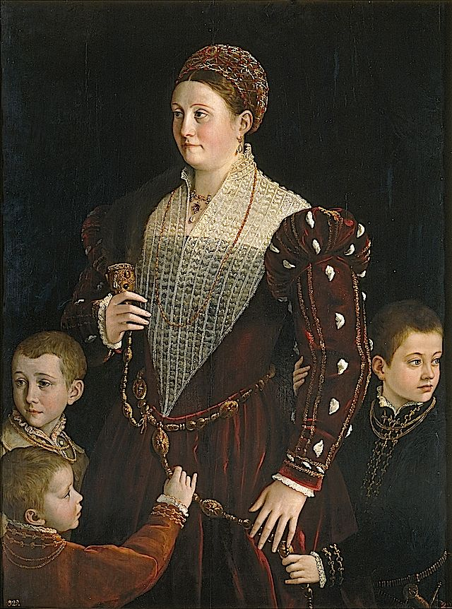 1523 Camilla Gonzaga, condesa de San Segundo-'She wears a dark under-garment  under a sheer sottana-like garment under an over-dress with over-bodice. And of course, the French sleeve.'