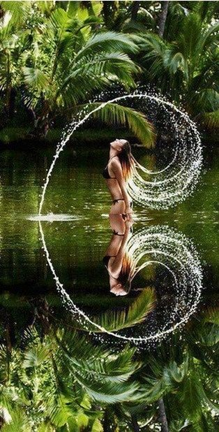 Mickaella. girl in the water with her hair making a splash caught on camera to make a heart in the reflection. Beautiful tropical jungle paradise. . Please also visit www.JustForYouPropheticArt.com for colorful inspirational Prophetic Art and stories. Thank you so much! Blessings!