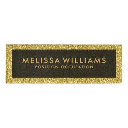 Modern Gold Faux Glitter Name Tag   Glitter Glamour Brilliance Sparkle Design  Idea Diy Elegant