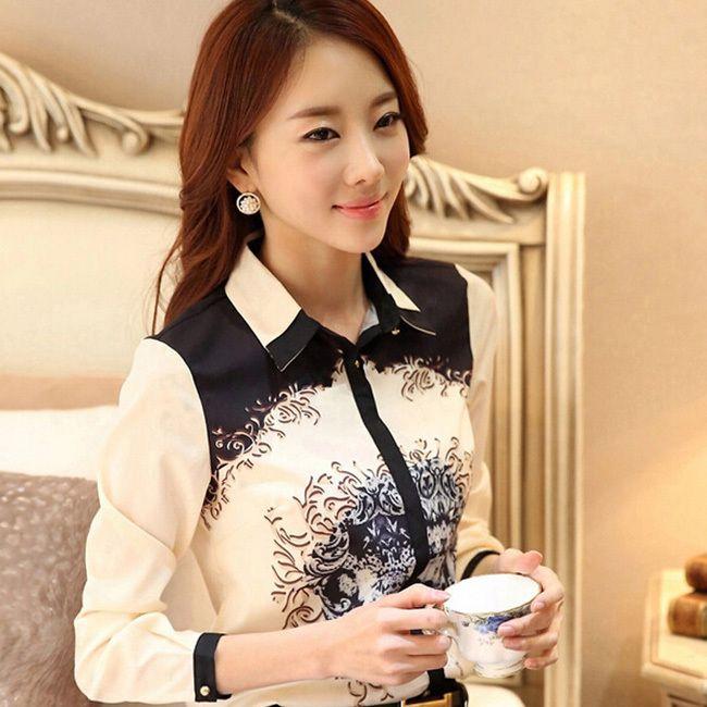 Classic Printed Lady Fashion Chiffon Shirts Size S-3XL New Korean OL Style Clothing 2015 Elegant Women Casual White Blouse