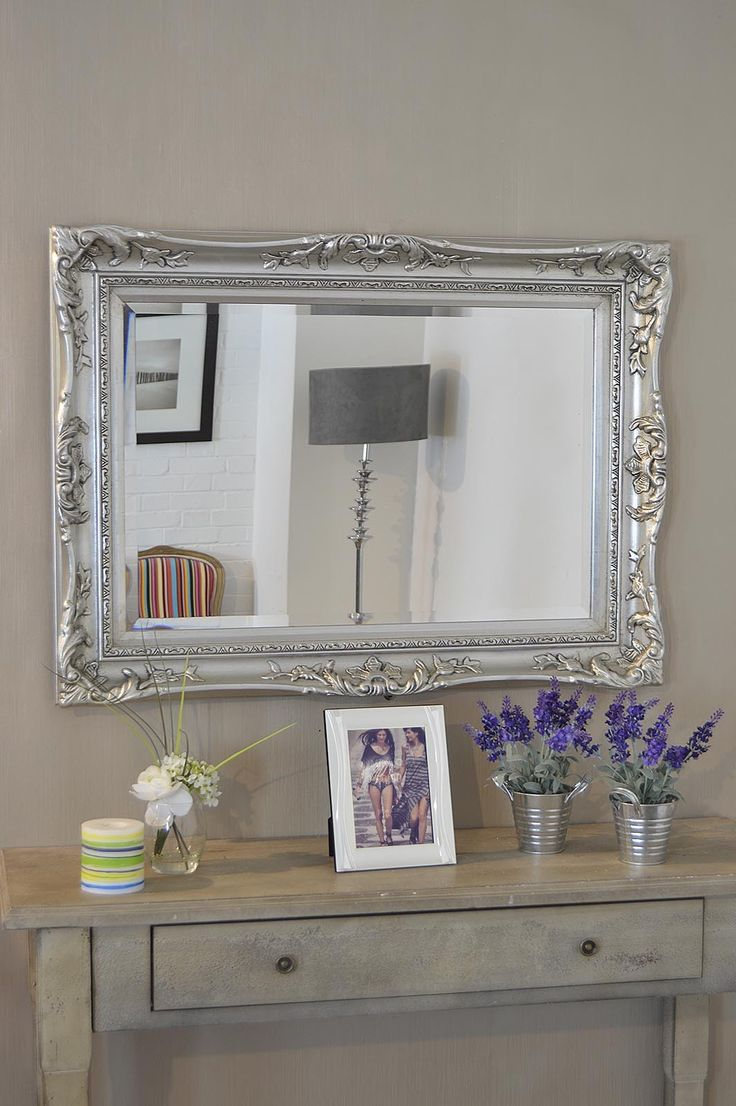 3Ft2 X 2Ft4 97x71cm Large Silver Ornate Antique Style Big Wall Mirror Overmantle