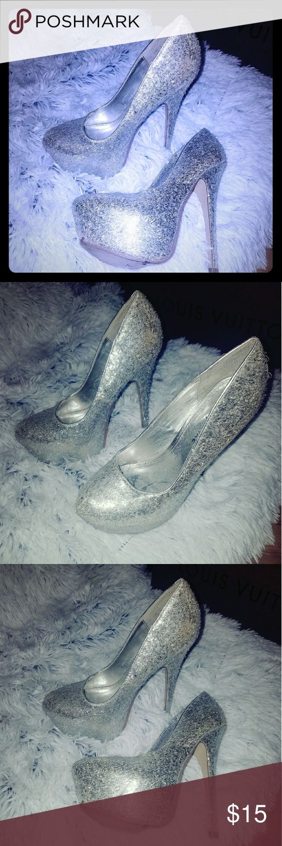 Silver heels Glam glam glam very high heels size 8 Styluxe Shoes Heels