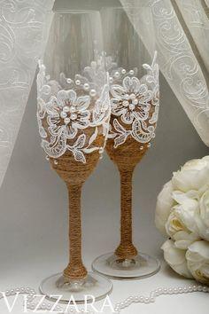 Champagne flute Rustic wedding Wedding cake servers set Rustic vintage wedding Personalized cake ser