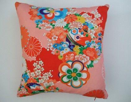 Fabulous cushion made from vintage kimono fabric from Eclectic Chair - Eclectic Chair :  kimono kids vintage home design