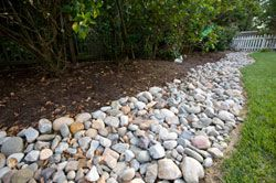 River rock drainage swale example outside pinterest for Landscaping rocks northern virginia