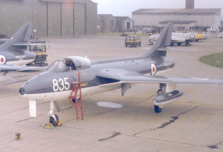 FRADU Hawker Hunter GA.11 XE682/835 at Greenham Common, 1977 awaiting its next flight - (Fleet Requirements and Air Direction Unit)