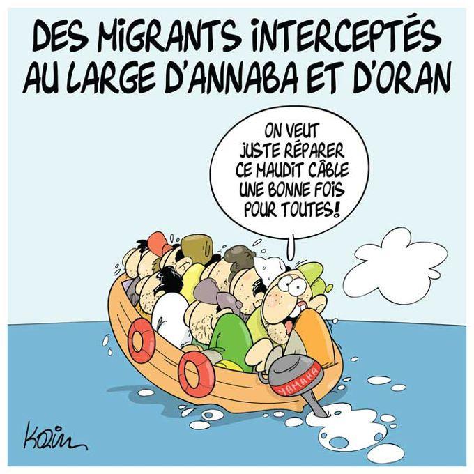 Vitamine (2017-04-17) Des migrants interceptés au large d'Annaba et d'Oran, Caricature de Vitamine du 17-04-2017 | Presse-dz