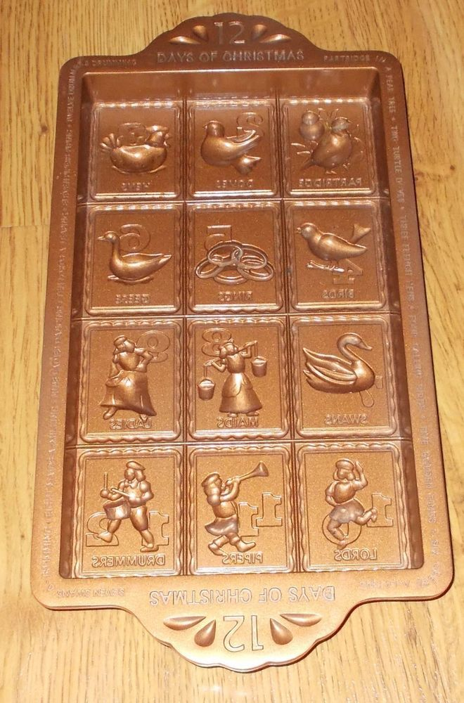 Chicago Metallic 12 Days Of Christmas Non-Stick Candy Cookie Cake Mold Pan #ChicagoMetalic