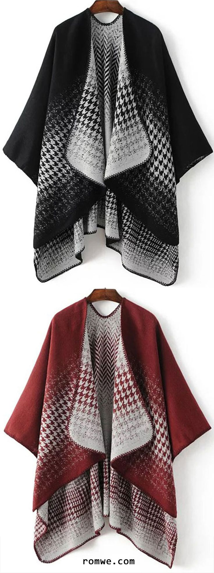 Black Draped Collar Dip Hem Cape Sweater