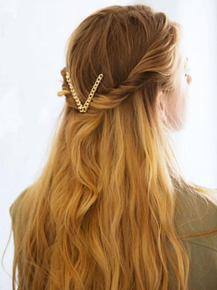 Gold Chain V Shape Hair Clip