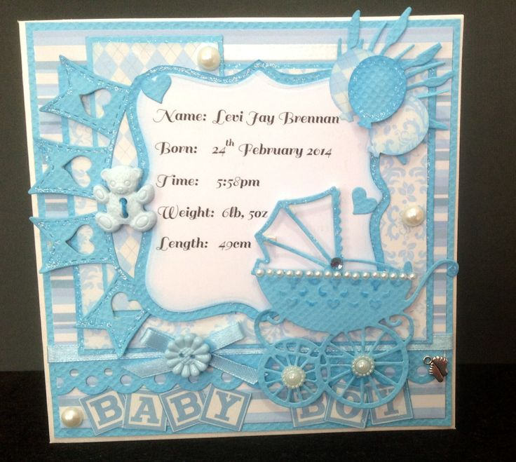 Custom order -- Baby Boy Card with baby pram, banner, and teddy button