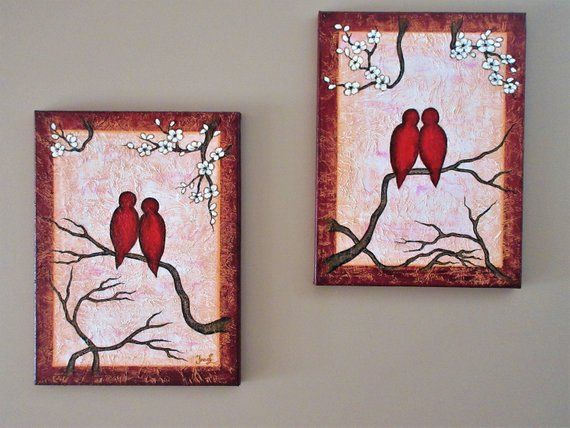 Love Birds Art Original Painting Original Artwork Red Birds On Branch Textured Modern Red Wall Decor Bedroom Decor Set Of Two Canvases Love Birds Painting Bird Paintings On Canvas