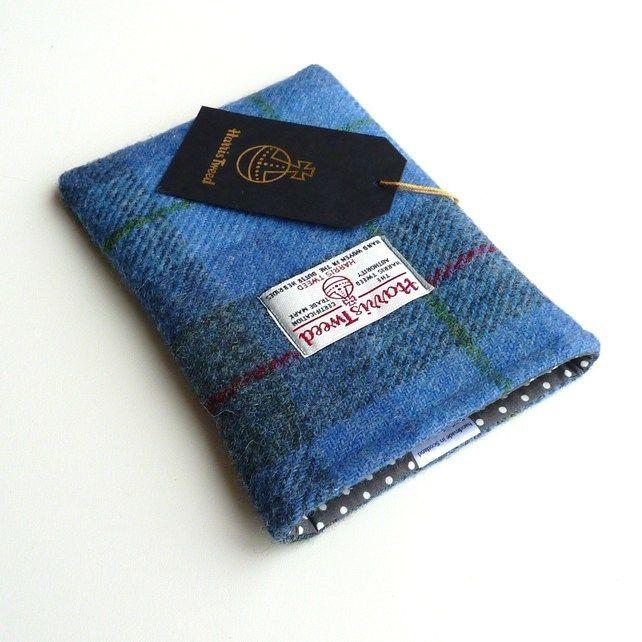Kindle Paperwhite cover in blue and grey Harris Tweed tartan £21.00