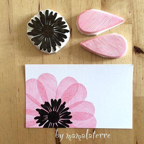 Ready to send to Spain #bymamalaterre #blockprinting #hanko #hanco #eraserstamp #rubberstamp #flowers #handmade #handprinted #handicraft