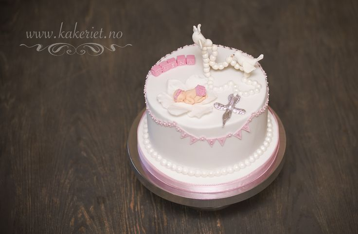 Christening cake for a baby girl with doves and cross :)