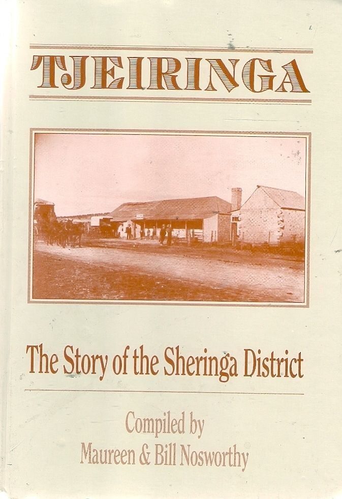 TJEIRINGA: STORY of the SHERINGA DISTRICT. The township of Sheringa is situated on the Eyre Highway, 129 km northwest of Port Lincoln on Eyre Peninsula. The name is of Aboriginal origin, Tjeiringa being the name of a yam which grew in abundance in the area long before the township came into existence. The Port Lincoln to Fowler's Bay telegraph line, constructed in 1876, passed diagonally through the centre of the town.