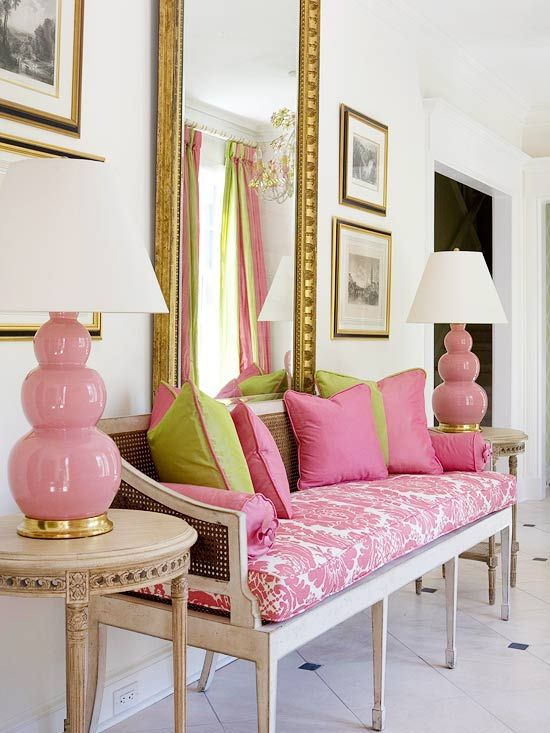 Love the look of this fresh spring space? Find out how to get the look on Style Spotters: http://www.bhg.com/blogs/better-homes-and-gardens-style-blog/2013/04/02/get-the-look-louis-goes-pink-and-green/?socsrc=bhgpin040913pinkgreenentrance