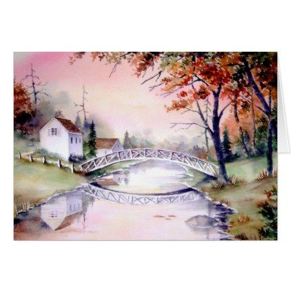 Arched Bridge Watercolor Painting Card - thanksgiving greeting cards family happy thanksgiving