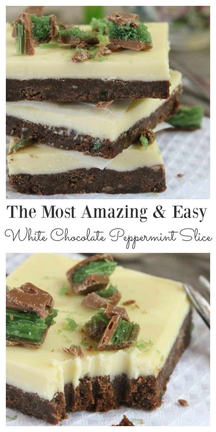 This white chocolate peppermint slice is simply irresistible. It is one of those recipes that you are going to keep making again and again because it is so easy and so incredibly delicious. Simply bite into a sweet, crunchy chocolate base with peppermint crisp bites and a thin crispy white chocolate top. This is a family favorite.