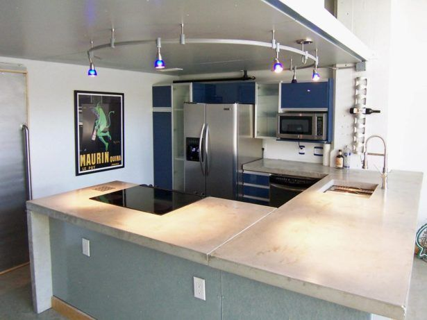 Kitchen Modern Kitchen Concept White Kitchen Concrete Countertops Kitchen  Lamp Decor Painting On The Wall White