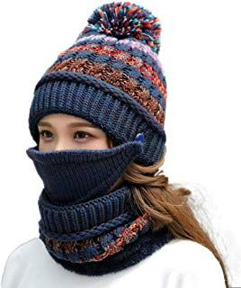 c7db1440e6352 Fleece Lined Women Knit Beanie Scarf Mouth Mask Set for Girl Winter Ski Hat  with Pompom
