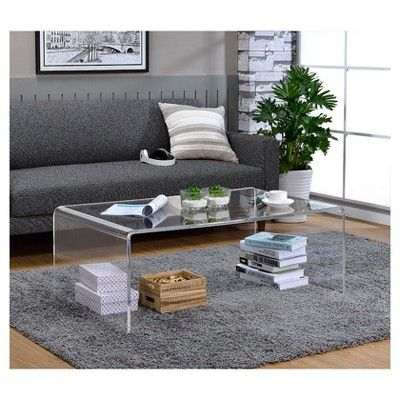 Lucite Tall Coffee Table, Clear