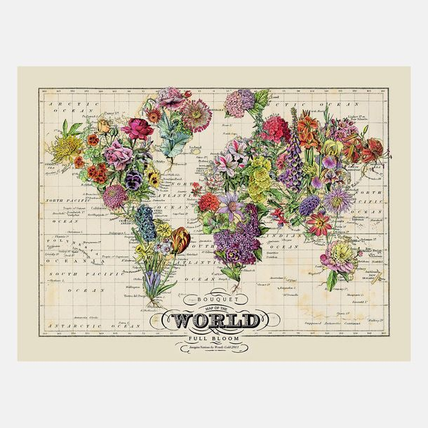 Bouquet #map, world map poster with flowers instead of countries, in vintage style, by ImagineNations