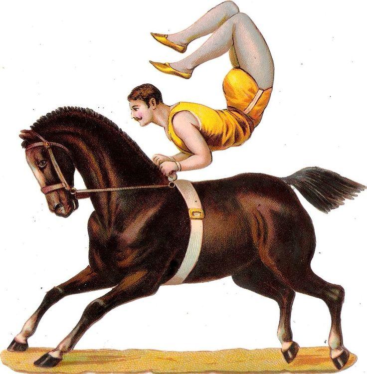 Oblaten Glanzbild scrap die cut chromo Zirkus  15cm circus cirque Artist Pferd