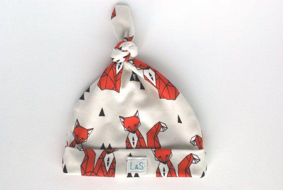 Fox knot baby hat by LolaandStella on Etsy