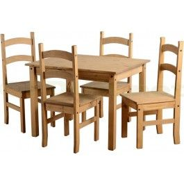 Corona Dining 4 Seater Set Budget Chairs Table Solid Waxed Pine By Home Discount