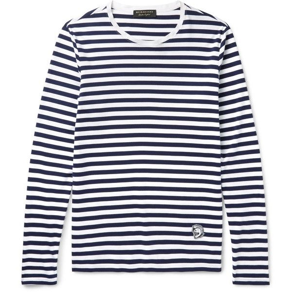 Burberry Runway Striped Cotton-Jersey T-Shirt ($310) ❤ liked on Polyvore featuring men's fashion, men's clothing, men's shirts, men's t-shirts, mens embroidered shirts, mens striped t shirt, mens striped long sleeve t shirt, mens longsleeve shirts and mens long sleeve shirts