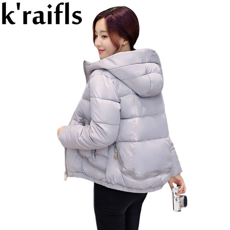 k'raifls Women's Hooded Cotton-Padded Jacket Winter Short Cotton Coat Plus Size Down Jacket Female Slim Ladies Jackets Coats
