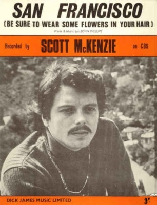 """Vintage 45 rpm, Scott McKenzie, """"San Francisco"""" (If your going to San Francisco, be sure to wear some flowers in your hair,.,.)"""