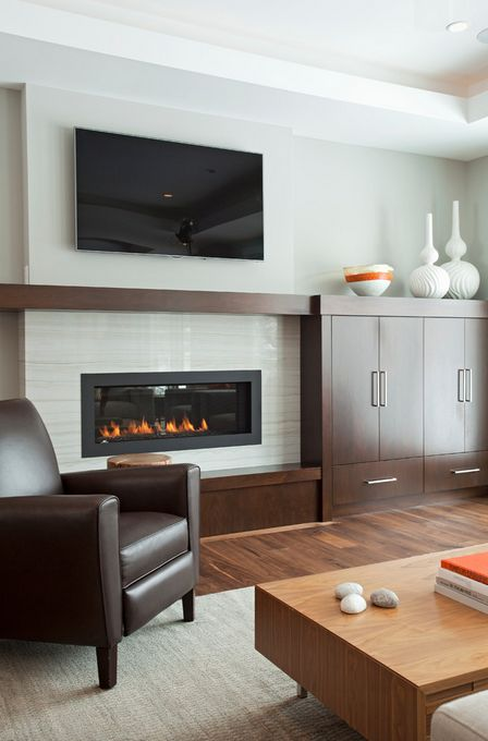 25 best contemporary fireplaces ideas on pinterest - Idee amenagement sous sol ...