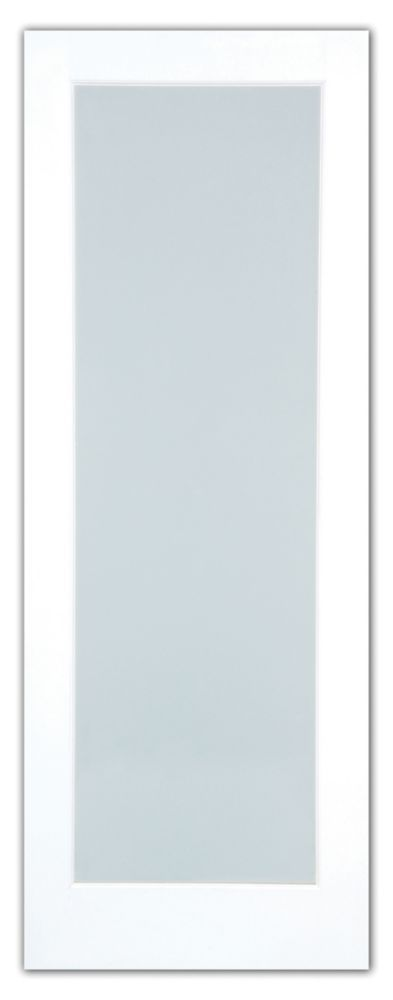 30X80 1 Lite French Door Primed With White Laminated Tempered Glass