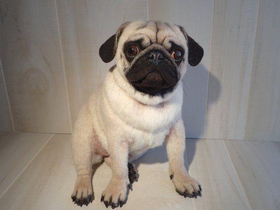 Sold Realistic Pug Girl Life Size Handmade Needle Felted Wool