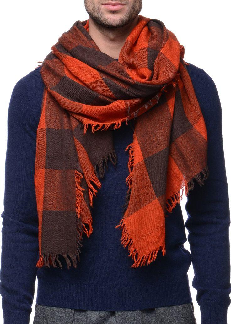 Federico Curradi - FW16- Menswear // Orange checkered scarf in wool and silk