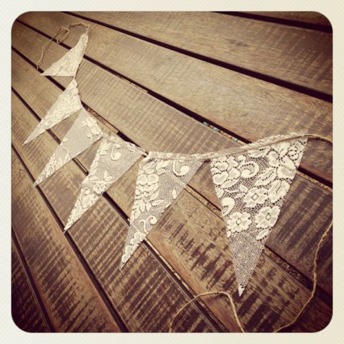 Rustic Wedding LACE Vintage Bunting Banner Country Beach Baby Shower Engagement