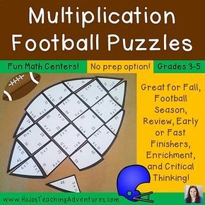 These Football Math Centers Multiplication Football Puzzles make it quick and easy for teachers to provide hands on activities that meet the needs of all students! All three puzzles are engaging and fun!