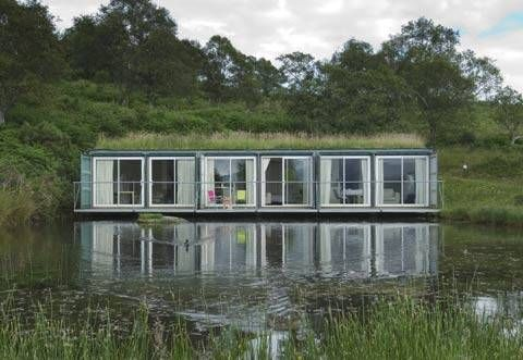 Container house on a lake - Container City at Cove Park Scotland