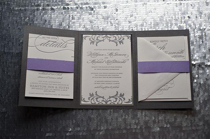 silver and purple wedding invitations, mirror paper, custom wedding invitations, letterpress wedding invitations, chicago wedding invitations