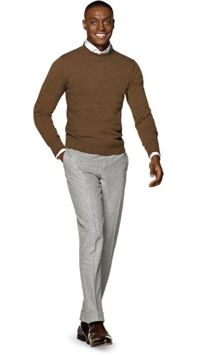 Brown merino sweater, grey chino pants